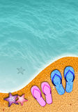 Flip-flop on the beach Stock Image