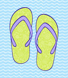 Flip-flop on blue wavy backround Royalty Free Stock Photography