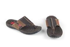 Flip-flop bruno-nero Immagini Stock