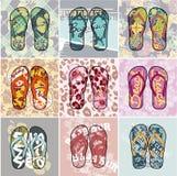 Flip Flop collection. Set of different vector artworks vector illustration