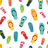 Flip flop color summer pattern. Seamless repeat pattern, background. Royalty Free Stock Images