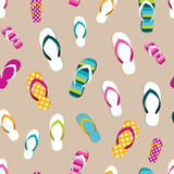 Flip flop color summer pattern. Seamless repeat pattern, background. Royalty Free Stock Photography