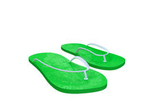 Flip-flop. 3d illustration of green flip flop isolated on white background Royalty Free Stock Photography