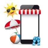 Flip-flop del parasole di Sun della tenda foranea del negozio di Smartphone Immagini Stock