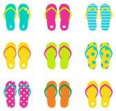 Flip-flop di estate fissati isolati su bianco Fotografia Stock