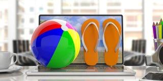 Flip-flop e beach ball su un computer portatile, fondo dell'ufficio della sfuocatura illustrazione 3D Immagini Stock Libere da Diritti