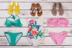 Flip-flop ed insieme del bikini Fotografia Stock