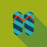 Flip flop flat icon with long shadow. Cartoon vector illustration vector illustration