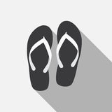 Flip Flop Flat Icon with Long Shadow, Vector Stock Image