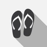 Flip Flop Flat Icon med lång skugga, vektor royaltyfri illustrationer