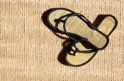 Flip Flop On Jute Stock Photo