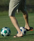 Flip Flop Kick. Soccer with Flip Flops Royalty Free Stock Images