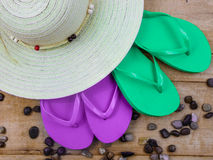Flip Flop Purple and Green Royalty Free Stock Photos