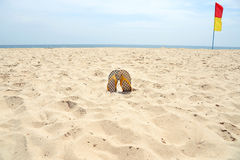 Flip flop on sand and safety flags sign on beach. Stock Photos