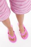 Flip flop sandal. Pink flip flop sandal with white background Stock Photography