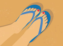 Flip flop sandals on the beach. Vector illustration of woman feet and flip-flop sandals on a sandy beach Stock Photo