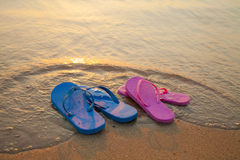 Flip flop sandals on the beach Stock Photo