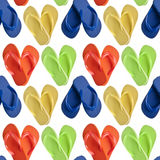 Flip Flop Sandals in Heart Shapes. Seamless Background Pattern royalty free stock photos