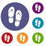 Flip flop sandals icons set Stock Photography