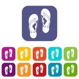Flip flop sandals icons set flat Stock Photos