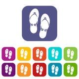 Flip flop sandals icons set Stock Photo