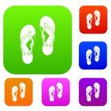Flip flop sandals set color collection Royalty Free Stock Photos