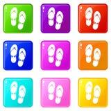Flip flop sandals set 9 Stock Images