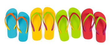 Flip flop sets. Realistic flip flop sets with different color combination Royalty Free Stock Image