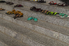 Flip flop on the stairs Stock Photo