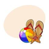 Flip-flop, stelle marine e beach ball gonfiabile, concetto di vacanze estive Immagini Stock