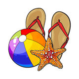 Flip-flop, stelle marine e beach ball gonfiabile, concetto di vacanze estive Immagini Stock Libere da Diritti