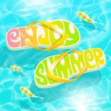 Flip-flop with summer greeting Stock Photos