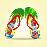 Flip flop with summer pattern Stock Images