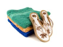 Flip-flop and towels 3 Royalty Free Stock Photos