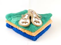 Flip-flop and towels Stock Images