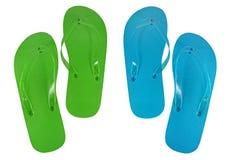 Flip-flop verdi e blu Immagini Stock Libere da Diritti