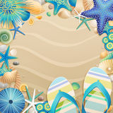 Flip-flop y marco de los shelles en la playa Foto de archivo libre de regalías