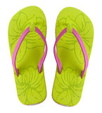 Flip Flops. A pair of brightly colored flip flops shot on white background stock photography