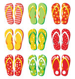 Flip flops. 9 colorful flip flops icons Royalty Free Stock Image