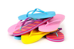 Flip Flops. Pile of Colorful Flip Flops on White stock images