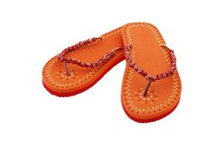 Flip Flops. Orange summer flip flops isolated on white Royalty Free Stock Photos