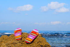 Flip-flops. A pair of flip-flop sandals on a rock Royalty Free Stock Image