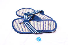 Flip flops. Pair of flip flops and small shell Stock Photo