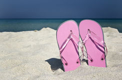 Flip-flops. And beautiful beach stock images