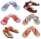 Flip flops. Six pairs of colorful flip flops stock photos