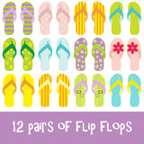 Flip flops. 12 pairs of brightly colored flip flops - thongs Royalty Free Stock Photo