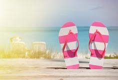 Flip-flops against ocean Royalty Free Stock Photography