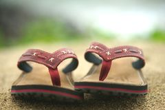 Flip-flops. Areia Foto de Stock Royalty Free