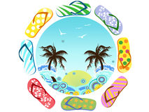 Flip Flops around summer Royalty Free Stock Photography