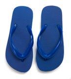 Flip-flops azuis em um fundo branco Imagens de Stock Royalty Free